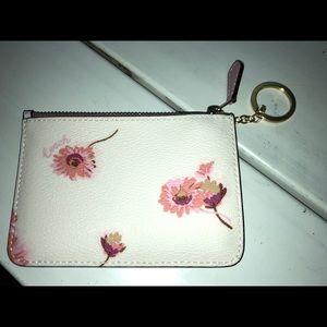 Nwt coach flower zipper pouch & key chain